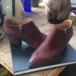 Dark red Franco Sarto zip booties 8.5